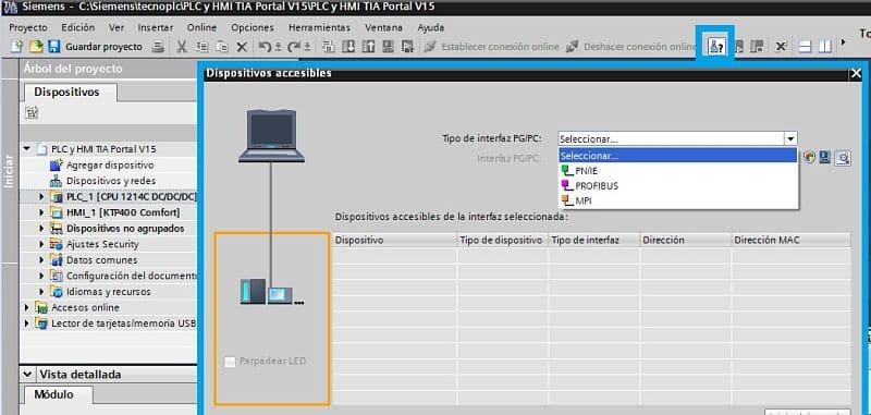 Dispositivos accesibles en TIA Portal comunicación PLC