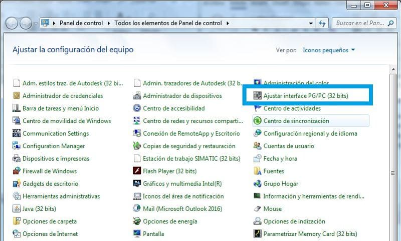 Panel de control Windows seleccionar Ajustar PG-PC
