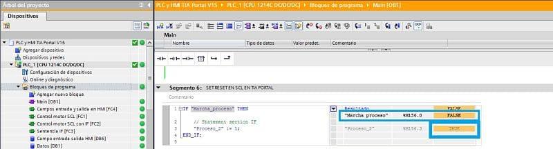 SET RESET SCL TIA Portal se ha hecho el SET a la marca en SCL