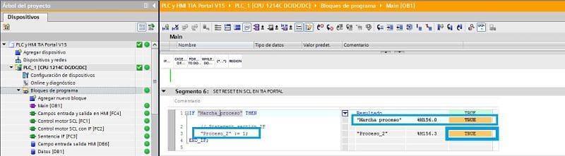 TIA Portal ver como no se cumple la condición para el SET