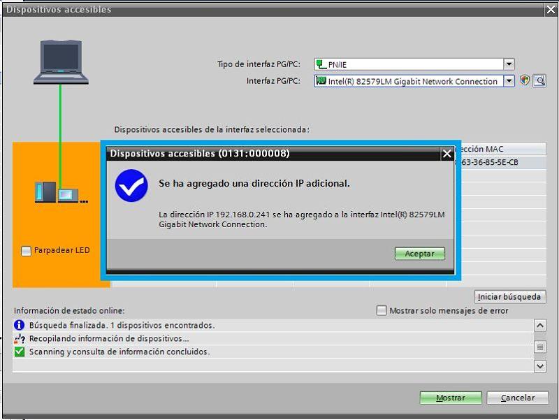 Se ha asignado una dirección IP Virtual para estar en el mismo rango