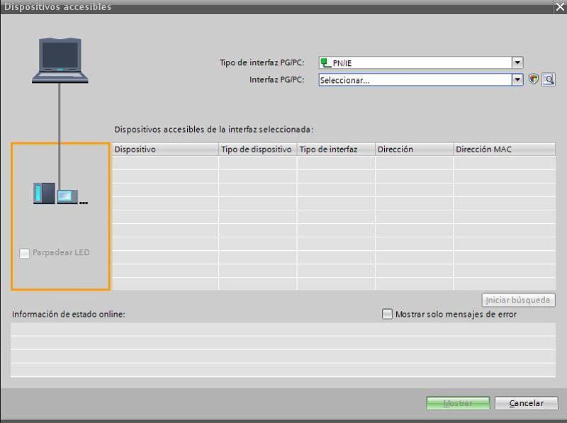 Seleccionar PNIE en el tipo de interfaz de conexión TIA Portal