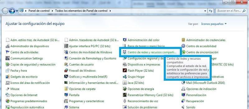 Seleccionar el centro de redes y recursos en panel de control de Windows