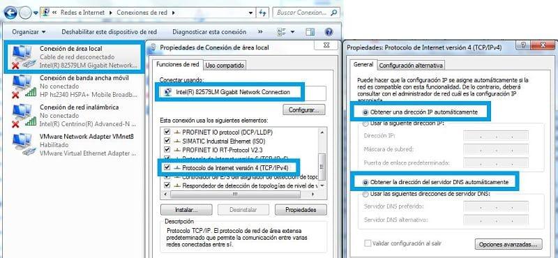 TIA Portal comunicación PLC seleccionar IP y DNS automática en Windows