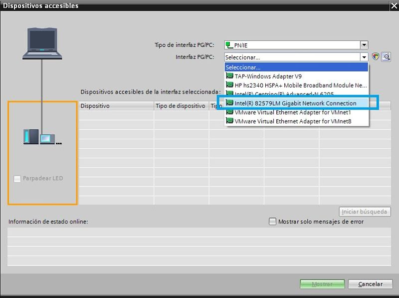TIA Portal comunicación PLC seleccionar tarjeta de red disponible