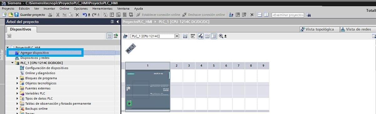 Agregar dispositivo nuevo en proyecto TIA Portal PLC HMI
