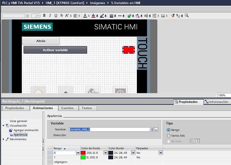 Crear animación para cambiar de color cuando se activa la variable interna en TIA Portal
