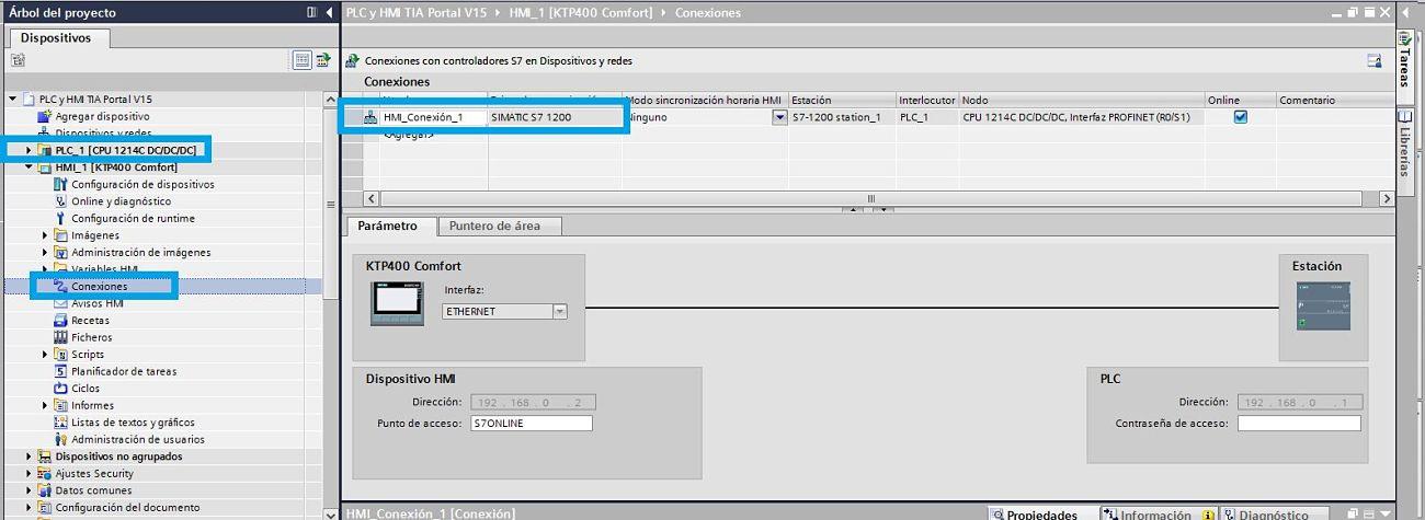 Crear una conexión entre el PLC y la HMI en el proyecto TIA Portal