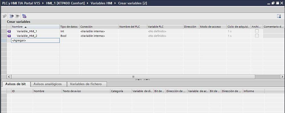 Crear variables HMI TIA Portal de tipo variable interna