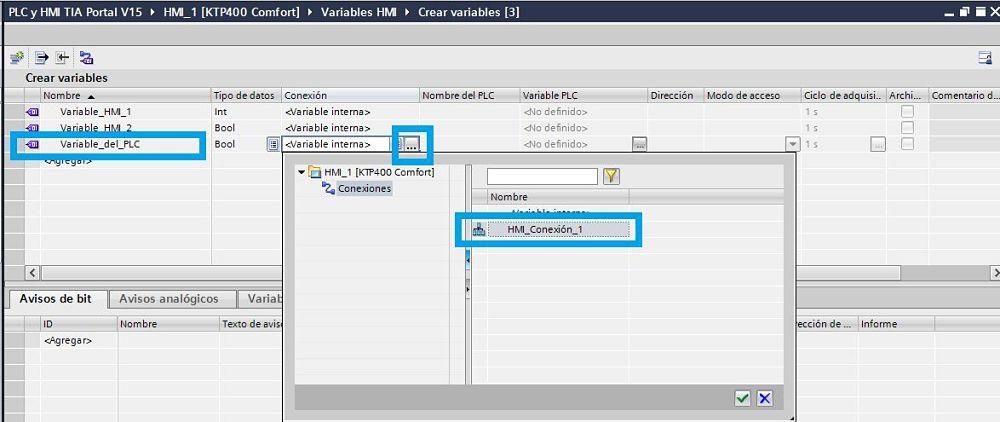 Crear variables HMI TIA Portal seleccionando la conexión con el PLC