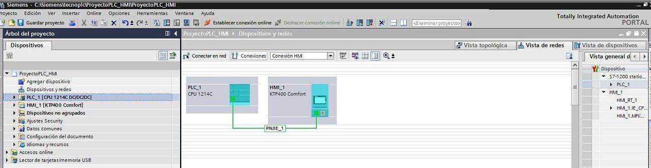 TIA Portal PLC HMI integrados en proyecto y Red Profinet