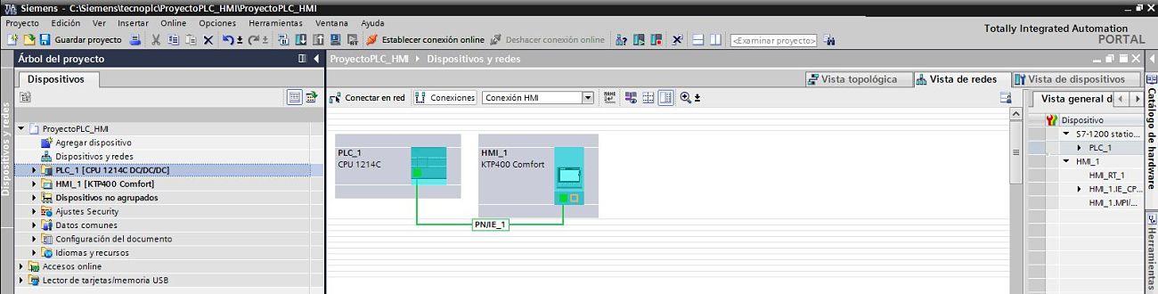 Proyecto TIA Portal PLC HMI integrados donde podrán compartir variables