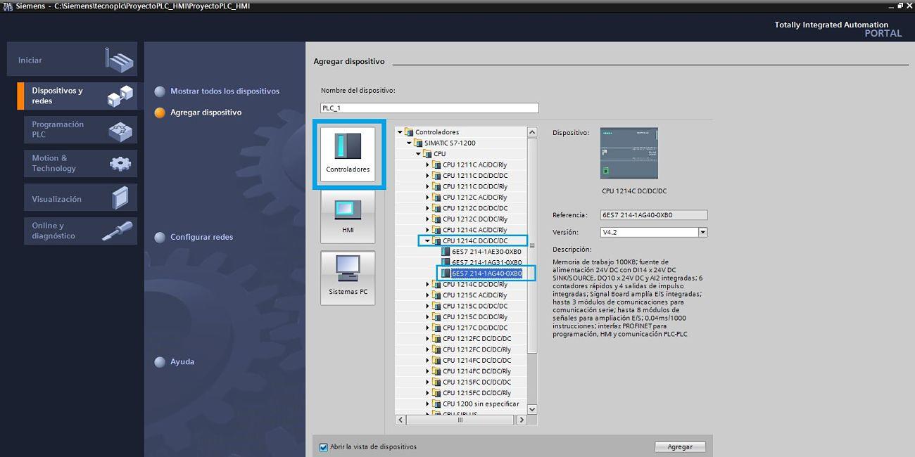 Seleccionar la CPU para proyecto TIA Portal PLC HMI integrados