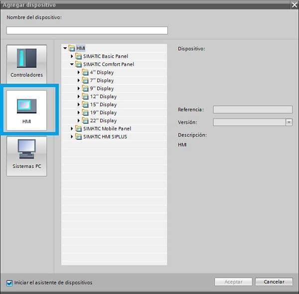 Seleccionar la opción HMI para escoger dispositivo en TIA Portal PLC HMI