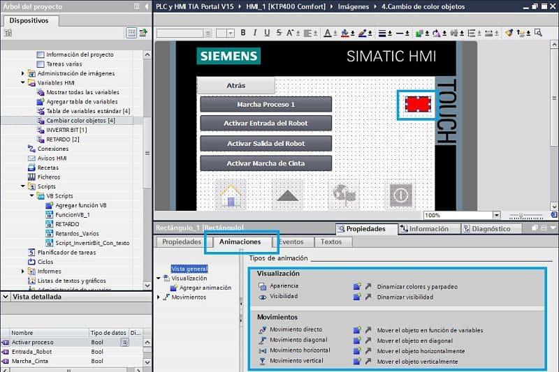Seleccionar la pestaña de animaciones del rectángulo en TIA Portal