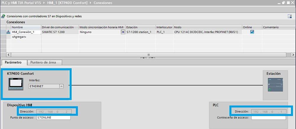 Seleccionar las direcciones IP dentro del mismo rango para el PLC y la HMI
