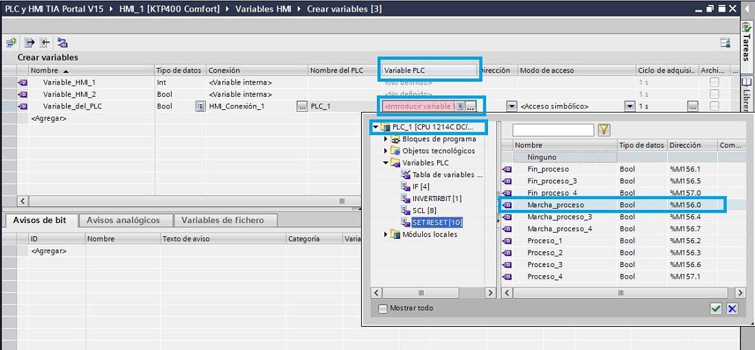 Seleccionar variables HMI TIA Portal que ya hemos creado en el PLC