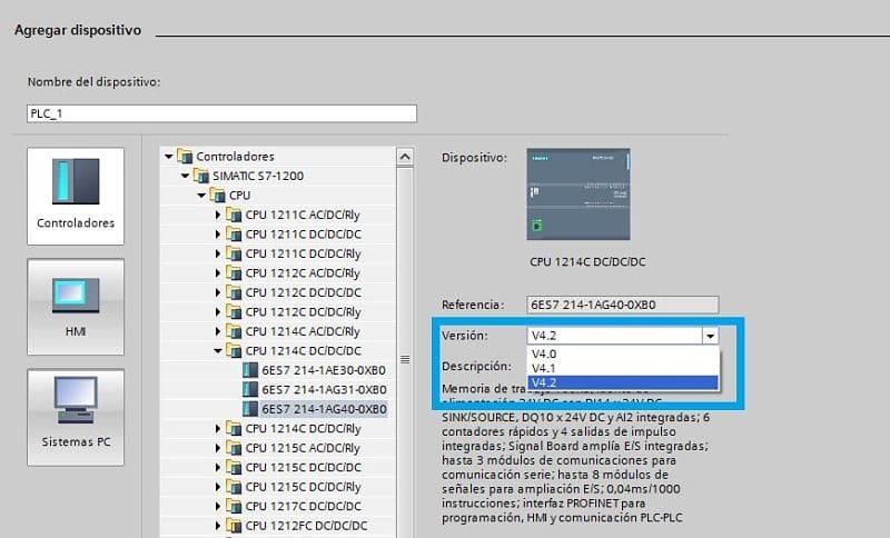 Seleccionar versión de Firmware en el proyecto TIA Portal PLC HMI