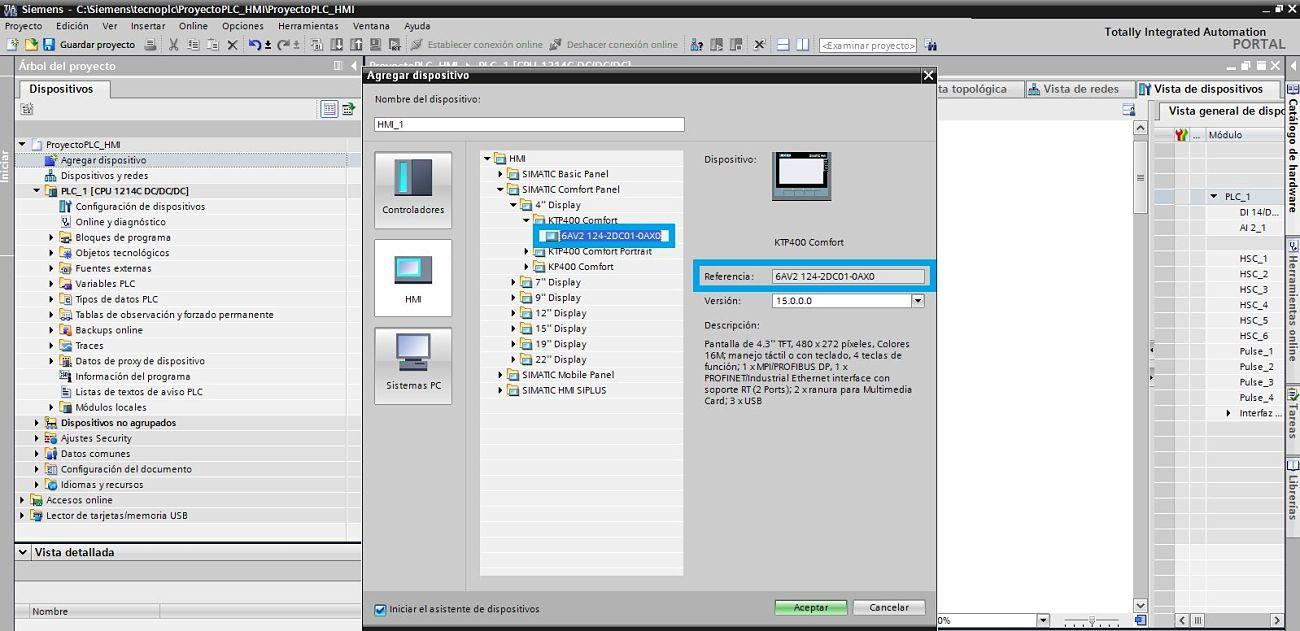 TIA Portal PLC HMI seleccionar la referencia de la pantalla a utilizar