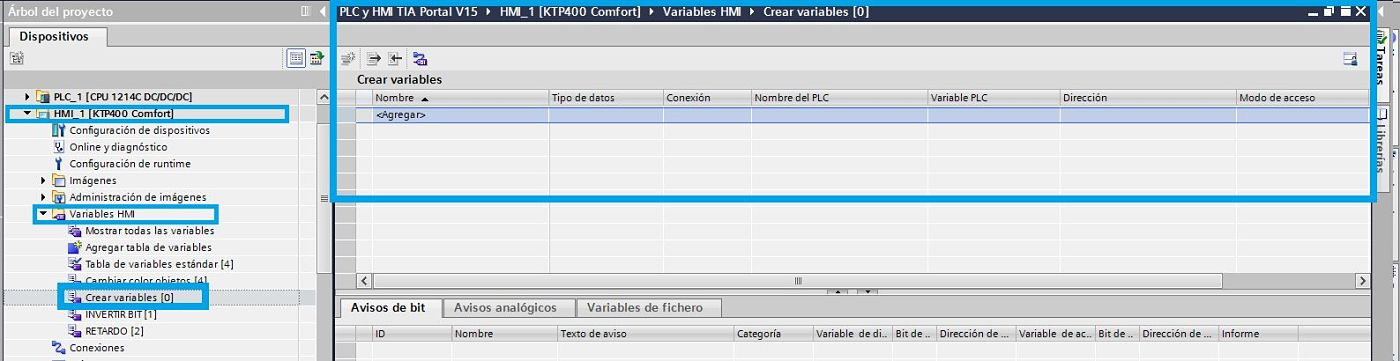 Tabla de variables  en el proyecto de la HMI TIA Portal