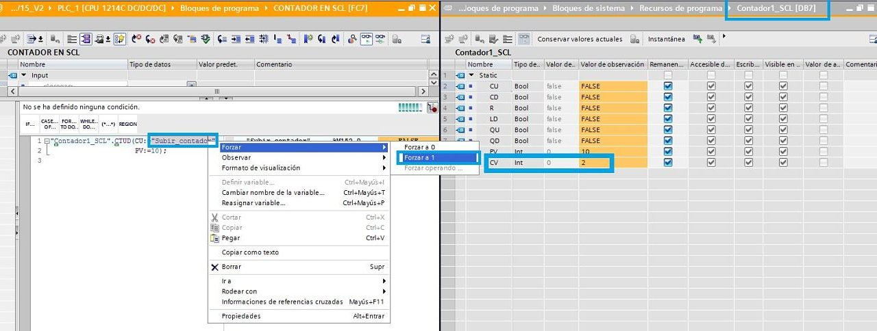 Contador TIA Portal SCL definición y funcionamiento en SCL