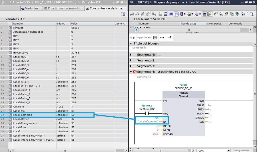 Colocar el ID del PLC en la función para leer número serie PLC TIA Portal