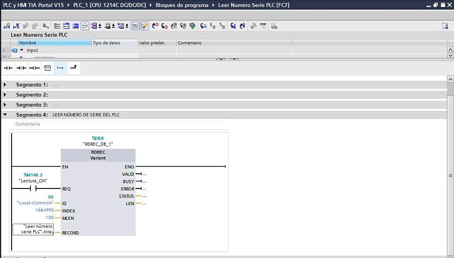Colocar un Array de tipoo CHAR para leer número serie PLC TIA Portal