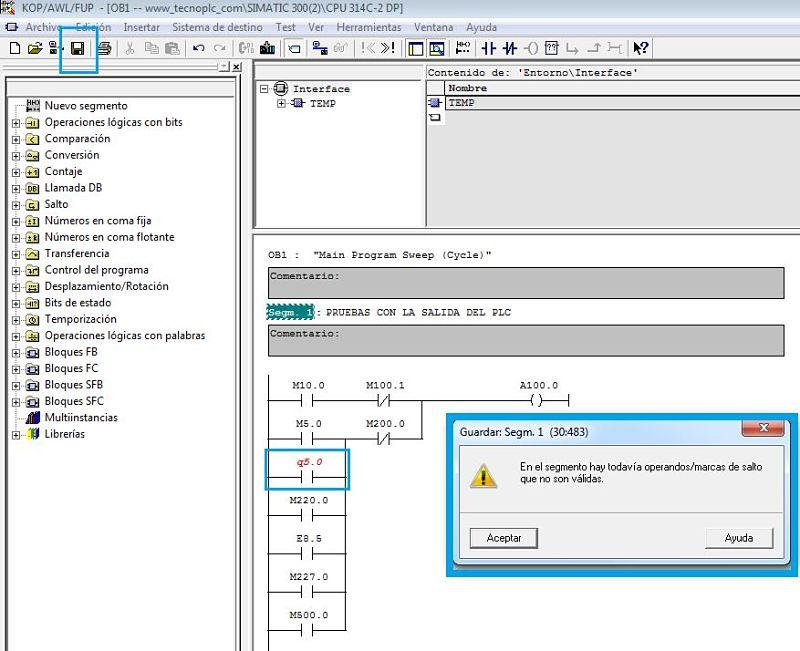 Compilación del programa antes de empezar con el simulador Step7