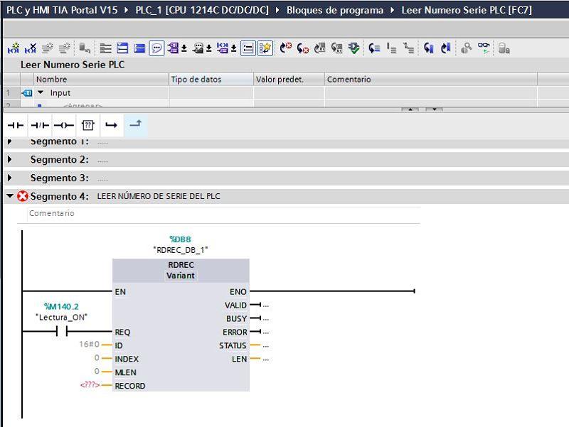 Contacto para activar la función de lectura del registro del PLC