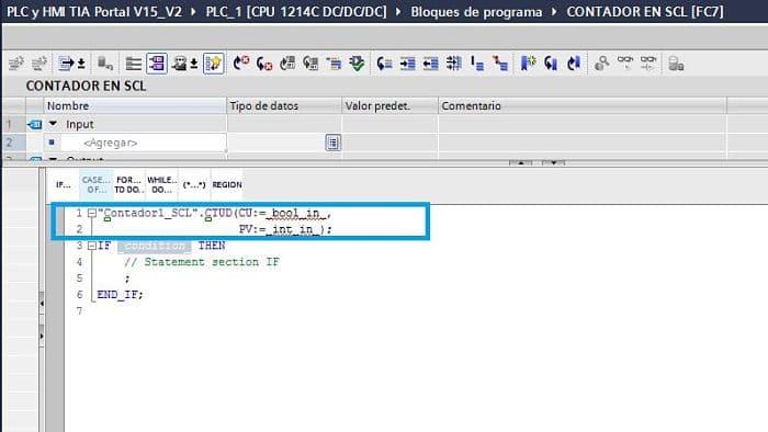 Contador TIA Portal SCL sin todos los parámetros