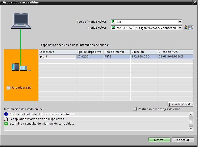 Establecer conexión Online con el PLC desde el proyecto TIA Portal