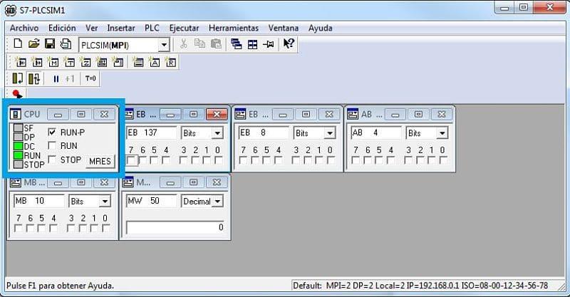 Establecer el simulador en modo RUN-P para poder transferir modificaciones
