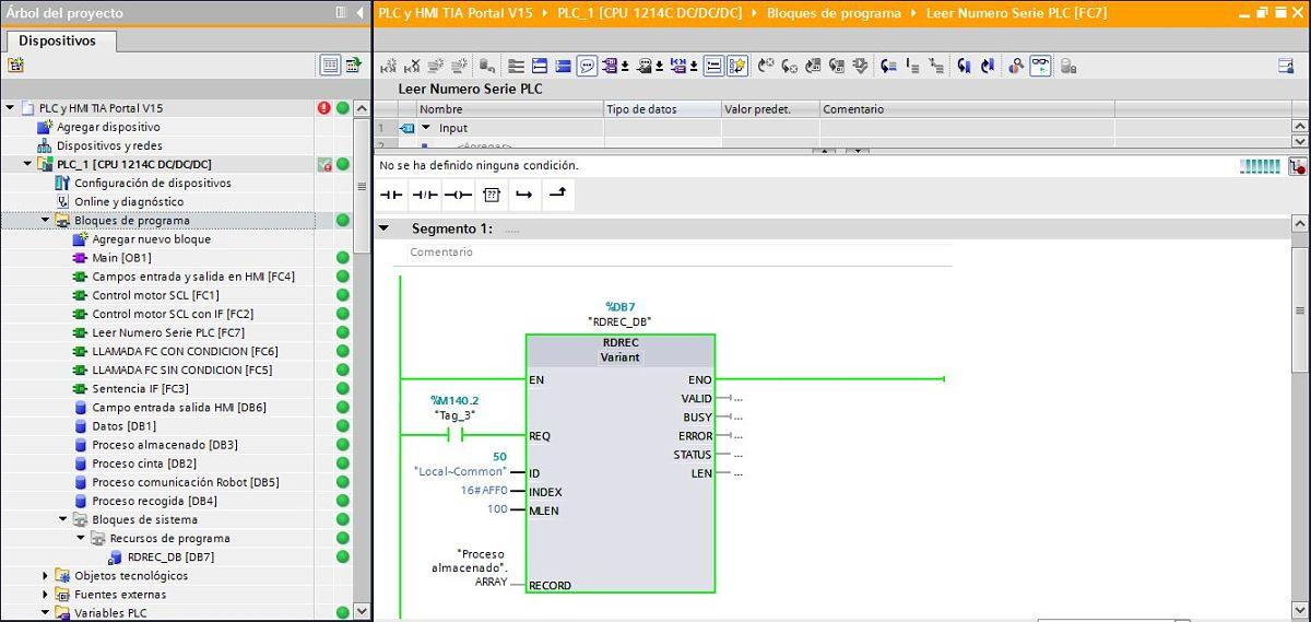 Función RDREC para leer número serie PLC TIA Portal