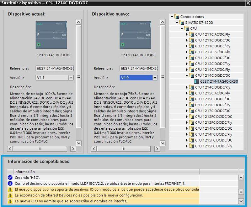 Información de compatibilidad al cambiar la versión de Firmware TIA Portal