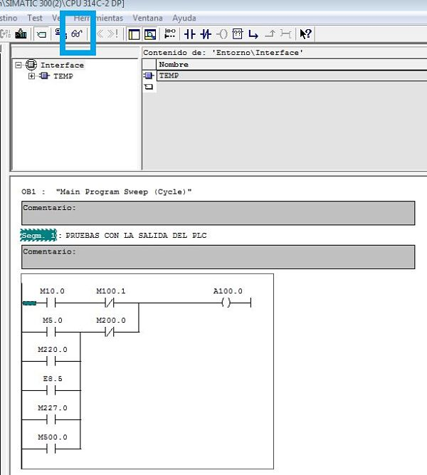 Iniciar la simulación del OB1 en el PLCSIM Step7