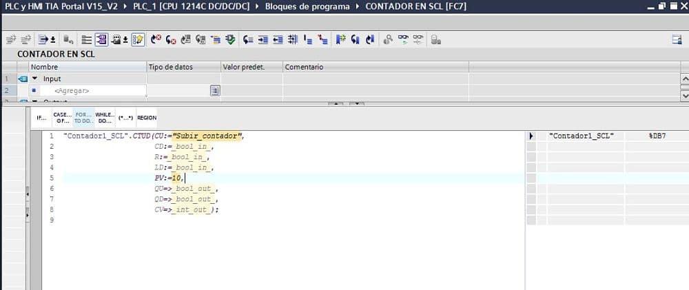 Insertar un valor decimal al dato PV del contador TIA Portal SCL
