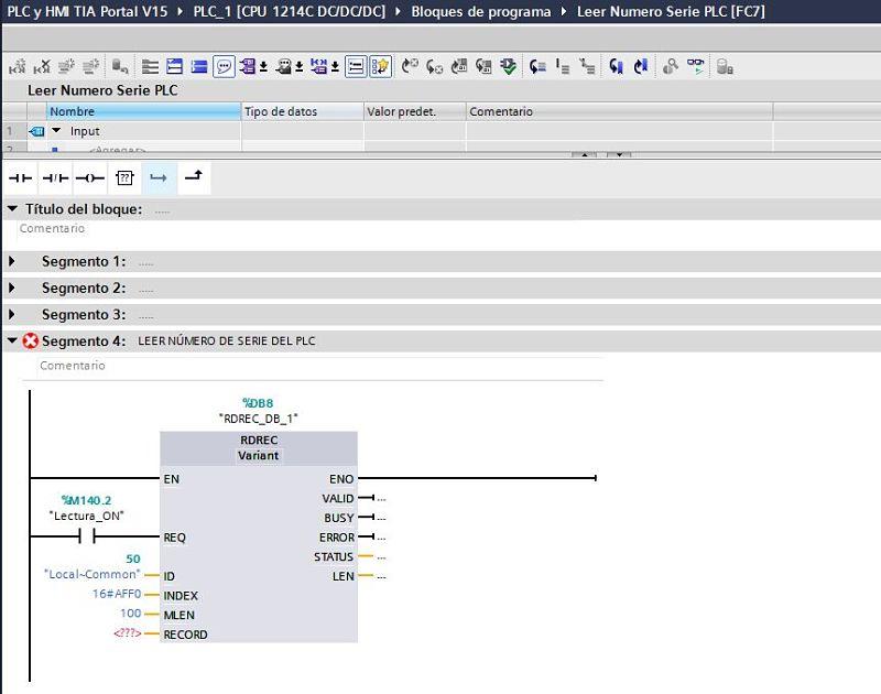 Longitud máxima para leer del registro de datos en la función RCREC TIA Portal