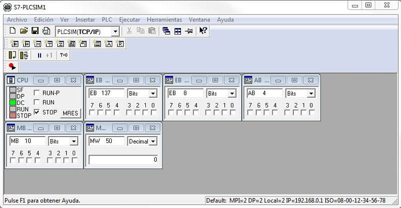 PLCSIM Step7 iniciado con las variables y entradas para forzar valores