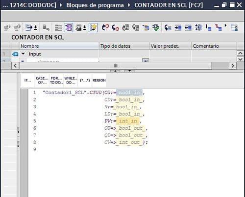 Parámetros completos de contador TIA Portal SCL