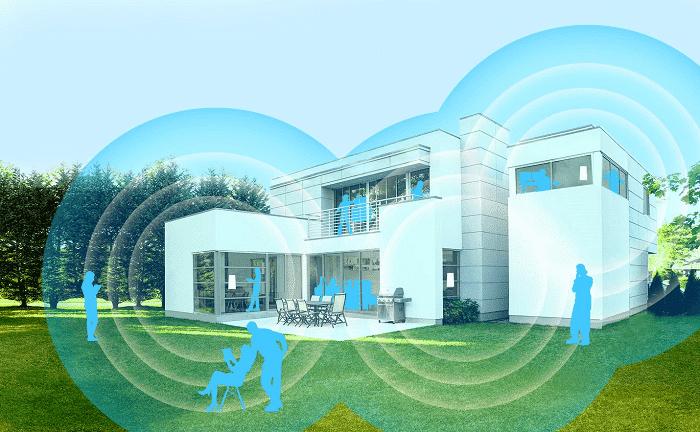 Red Wifi de malla disponible en toda la vivienda en una casa grande.