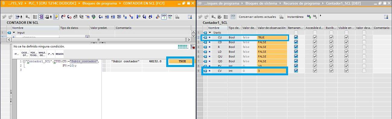 Se aumenta el valor del contador TIA Portal SCL forzando la variable en la entrada CU