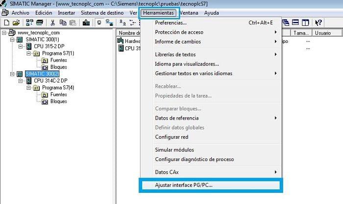 Seleccionar Ajuste PG PC para el simulador Step7