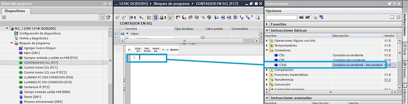 Seleccionar contador TIA Portal SCL y arrastrarlo a la función FC