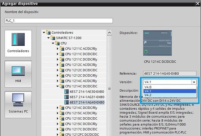 Seleccionar la versión Firmware TIA Portal al crear un proyecto nuevo