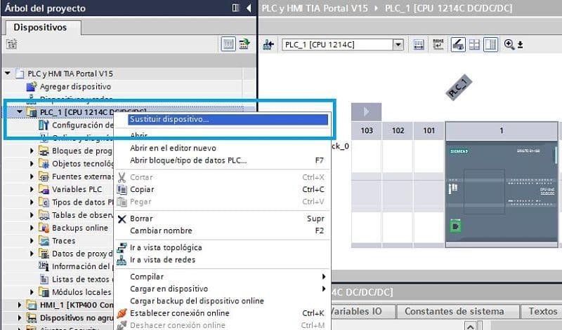 Seleccionar sustituir dispositivo en el árbol del proyecto TIA Portal