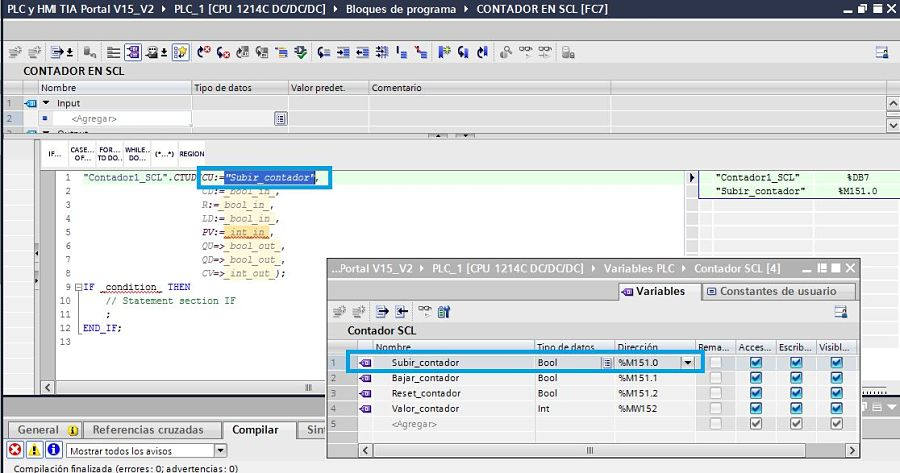 Seleccionar variable para insertar en el contador TIA Portal SCL