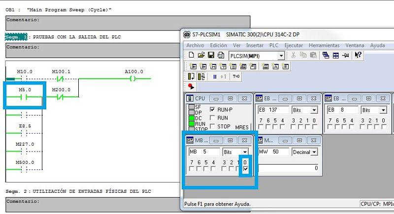 Simulación de la activación de una marca desde PLCSIM Step7