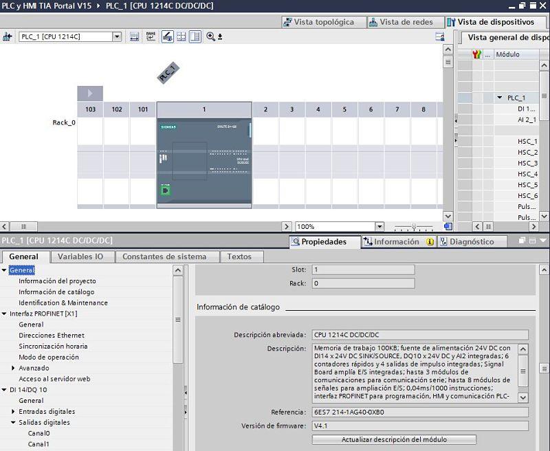 Ver versión Firmware TIA Portal del PLC en el proyecto