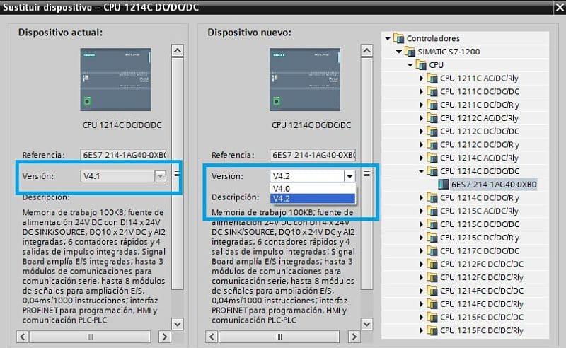 Versiones de Firmware TIA Portal disponibles para seleccionar