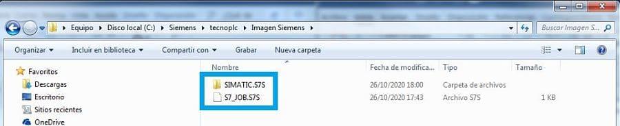 Archivos creados al guardar programa TIA Portal en una carpeta del ordenador